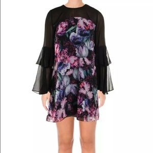 CeCe women black ruffled floral dress shiffon sz6